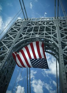USA flag in the wind on George Washington Bridge. American Spirit, American Flag, American Pride, I Love America, God Bless America, Sea To Shining Sea, Land Of The Free, Flags Of The World, Old Glory
