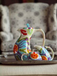 Colorful Floral Tea Set Jubilation Funky Tea Set by romyandclare