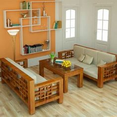 Sofa Gỗ Wooden Set Designs Rustic Living Furniture Wood