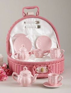 Pink Polka Dot Tea Set