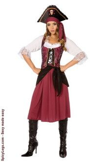Burgundy Pirate Wench Adult Costume  $27.80