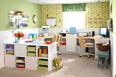 Craft Rooms On A Budget | notice the closet behind the desk that hides the musical