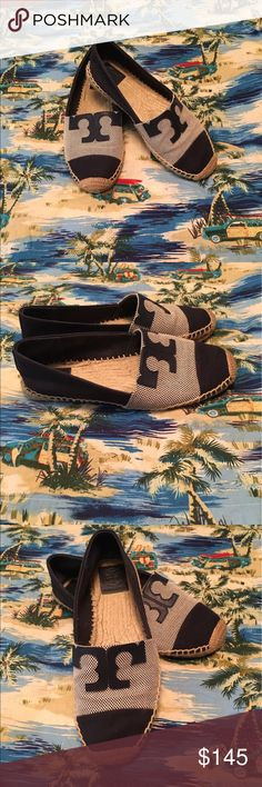 Tory Butch summer flats, Sz 8.5 TORY BURCH Great looking summer flats, navy and tan with hemp trim, rubber soles 8.5 gently used. TORY BURCH Shoes Flats & Loafers