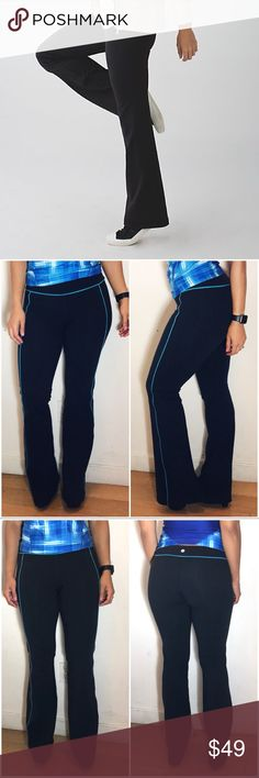 """Lululemon Black Pants Lululemon Black Pants w/ Blue Trim. -Size 4. -Inseam: 36"""" (They are very long, my height doesn't reflect the actual length)  -Excellent condition, very minimal pilling.  NO Trades. Please make all offers through offer button. lululemon athletica Pants"""