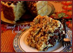 "FB page - Sweet Tea and Cornbread ♥ This ""Sweet Potato Cake"" recipe has been handed down through our family for years and it is one of the best cakes ever, especially for Fall and the holidays! Even those who don't care for sweet potatoes love it! For the recipe, click here: http://sweetteaandcornbread.blogspot.com/2013/10/sweet-potato-cake.html  - https://www.facebook.com/photo.php?fbid=428935500543686&set=a.213611468742758.39287.196223970481508&type=1&theater"