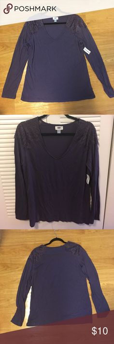 Purple Long Sleeved Blouse Royal purple long sleeved shirt that could be worn on a casual day. The shoulders have very cute lace detail that gives the shirt more of a dressy feel especially if paired with a skirt or dress pants. Old Navy Tops Tees - Long Sleeve