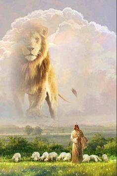 Jesus Art, God Jesus, Lion Of Judah Jesus, Arte Banksy, Lion And Lamb, Pictures Of Jesus Christ, Christian Artwork, Bible Art, Scripture Art