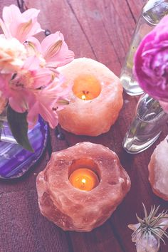 Himalayan Salt Candle Holder — Rocks with Sass Himalayan Salt Candle Holder, Himalayan Salt Lamp, Tea Light Candles, Tea Lights, Pink Candles, Crystals In The Home, Crystal Decor, Light Peach, Candle Holders