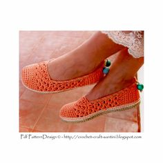 Ravelry: Coral Lace Toms/Espadrilles pattern by Ingunn Santini Toms Crochet, Crochet Slippers, Crochet Crafts, Knit Crochet, Crochet Tutorial, Lace Toms, Toms Espadrilles, Foundation Single Crochet, Crochet Patron