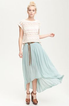 Love the flowy style of the skirt, and it's one of my favorite colors for spring!