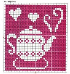 ♥ ♥ cross stitch - good idea for filet crochet block for kitchen curtains Cute Cross Stitch, Cross Stitch Charts, Cross Stitch Designs, Cross Stitch Patterns, Stitch Crochet, Crochet Chart, Filet Crochet, Cross Stitching, Cross Stitch Embroidery