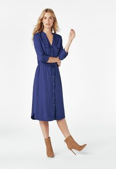 03747d3485c Utility Shirt Dress. Shoe Dazzle. Utility Shirt Dress in INDIGO - Get great  deals at JustFab
