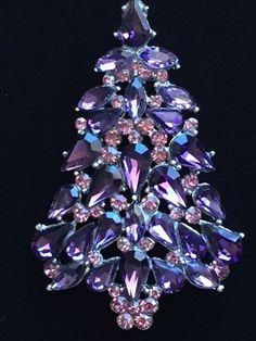 anthony attruia REPLICA silver purple rhinestone CHRISTMAS TREE BROOCH JEWELRY  #Unbranded #Replicajewelrybeautiful
