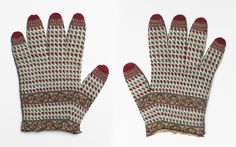c. 1780. Gloves. Knit. Wool. Mughal India, Kashmir. Dimensions 18 x 14 cm (height x width). Given to Warren Hastings, Governor-General of Bengal (1773-1785) (b. 1732 - d. 1818) (recipient). Accession no. EAX.2480.a & b. Jameel Centre, Ashmolean Museum, University of Oxford.