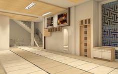 Perencanaan mushola menekankan pada pembagian shof melalui penataan keramik granit 60x120 dan lapisan garis alumunium sehingga memudahkan jamaah dalam membuat shof sholat. Kiblat ditekankan dengan olahan dinding ornamentasi dan plafon. Di sebelah timurnya, disediakan kabinet dinding supaya tidak memakan ruang untuk sholat. Mosque, Divider, Garage Doors, Stairs, Interior, Outdoor Decor, Room, Furniture, Design