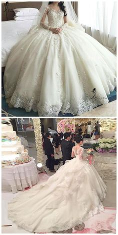 Amazing Tulle & Organza Jewel Neckline Ball Gown Wedding Dress With Lace Appliques & Flowers & Beadings - Bridal Gowns Wedding Dress Organza, Applique Wedding Dress, Luxury Wedding Dress, Princess Wedding Dresses, Wedding Dress Styles, Dream Wedding Dresses, Bridal Dresses, Gown Wedding, Amazing Wedding Dress
