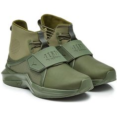 FENTY Puma by Rihanna Sneakers ($200) ❤ liked on Polyvore featuring shoes, sneakers, green, green shoes, puma footwear, puma sneakers, puma shoes and high top trainers