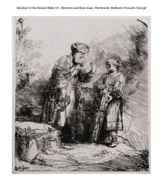 Abraham in the Bowyer Bible 101. Abraham sacrifices Isaac. Rembrandt. Medhurst-Kossuth-Vere on Flickr. A print from the Bowyer Bible, a grangerised copy of Macklin's Bible in Bolton Museum and Achives, England. Photo: Harry Kossuth. Text: Phillip...