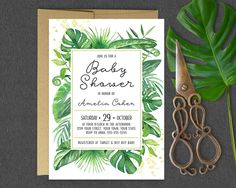 Tropical Baby Shower Invitation / Tropical Greenery Leaves Baby Shower Invitation / Gender Neutral Green Tropical Baby Shower Invitation by MaddieMaeCreative on Etsy https://www.etsy.com/listing/466876008/tropical-baby-shower-invitation-tropical