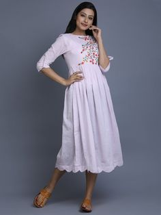 Light Pink Cotton Embroidered Dress
