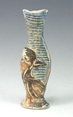 Bird Bottle Hand built, colored slip, soda fired
