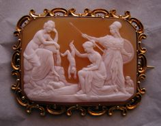 """""""Thetis Dipping Achilles in the River Styx""""  Sardonyx Shell Cameo in 18k Gold Frame, Italy  c. 1850-1860   Frame could be English"""