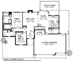 First Floor Plan of Traditional   House Plan 73381