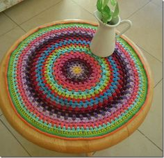 Another great granhy mandala or granny circle.  Love the colors on this one too.