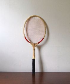 clearance sale  Vintage Wood Tennis Racquet with Red by awildtonic, $13.60