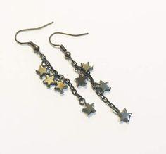 Black Hematite Star Stone Earrings Minimal Earrings Drop Earrings Black Earrings-Star Earrings Simple Bohemian Hobo Style Earrings