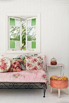 Love this space - beautiful windows and lovely floral prints - divine home interiors