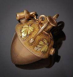 Victorian 14k Gold Acorn Perfume Charm.