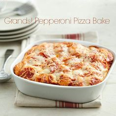 Grands pepperoni pizza bake .... made this tonight. Cut my pepperoni in half and cookes w. 3/4lb ground beef. chopped onions, bell peppers, an mushrooms. Baked about 30min before adding cheese on top. Baked an additional 20min. Family LOVED it :)