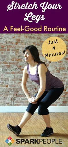 4-Minute Lower Body Stretching Routine. I've been doing this one right before bed--great way to wind down and stretch out!| via @SparkPeople #fitness #health #wellness #workout #exercise #stretch