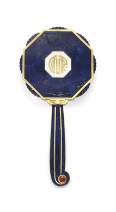 Art Deco lapis lazuli, citrine and gold hand mirror, by Cartier, circa 1927