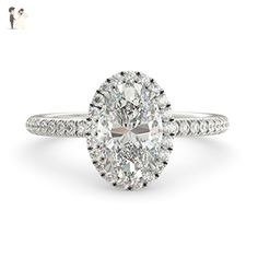 Charles and Colvard Forever Brilliant Oval Moissanite & Round Cut Natural Diamond Halo Vintage Custom Unique Engagement Ring Solid 14k White Gold 2.76 tcw - Wedding and engagement rings (*Amazon Partner-Link)