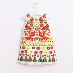 Girls Dress New Girls Clothes Sleeveless Tassel Print Design for Princess Dresses