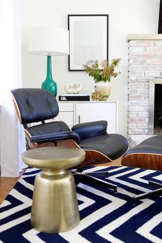 Brass Martini Side Table + Mid-Century Media Console from west elm