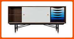 Kardiel 1955 Color Theory Mid-century Modern Sideboard Credenza, Walnut/Blue Drawers - Improve your home (*Amazon Partner-Link)