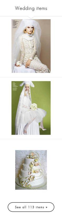 """Wedding items"" by kari-c ❤ liked on Polyvore featuring wedding, food, food & drinks, weddings, dresses, wedding dresses, wedding dress, home, home decor and floral decor"