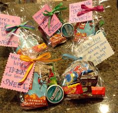 "Labor & Delivery nurse gift : ""Here's a little treat for being so sweet."" ""Thank you for taking care of me and my baby!"" Filled with candy, mints, and a Clif Bar."