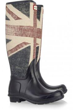 Hunter Vintage Union Jack print Wellington boots. Sincerely bad ass.