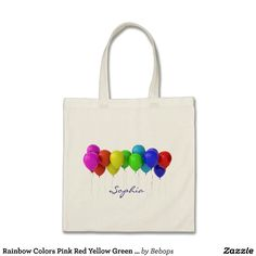 Rainbow Colors Pink Red Yellow Green Blue Balloons Tote Bag