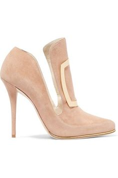 BALMAIN Buckle-embellished suede pumps