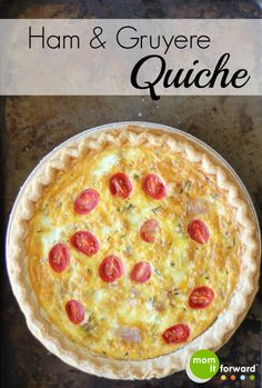 This Ham and Gruyere Quiche is so easy and a great way to use up odds and ends in the fridge for a scrumptious breakfast. Quiche Recipes, Egg Recipes, Peanut Butter Breakfast, Apple And Peanut Butter, Homemade Energy Drink, Frozen Pie Crust, Biscuits And Gravy, Leftover Ham