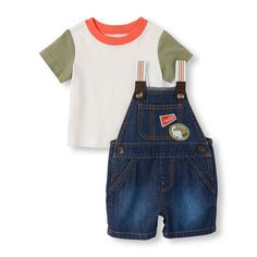 Newborn Baby Boys Short Sleeve Tee And Woven Denim Overall Shorts Set - White T-Shirt - The Children's Place