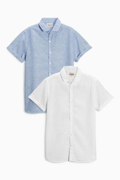White & Blue Short Sleeve Linen Mix Shirts Two Pack (3-16yrs) Code: 792-256 Price: £16