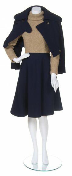A Geoffrey Beene Navy Wool Daywear Ensemble