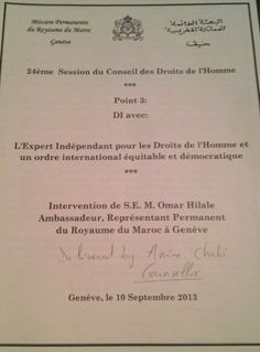 Statement by about my report to the United Nations ( Human Rights Council - Page 1 United Nations Human Rights, Human Rights Council, Proposal, This Or That Questions, Morocco