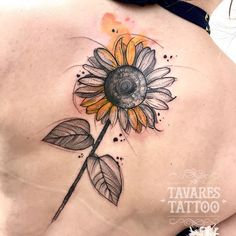 Ideas Flowers Watercolor Tattoo Inspiration For 2019 Watercolor Sunflower Tattoo, Sunflower Tattoo Sleeve, Sunflower Tattoo Shoulder, Sunflower Tattoo Small, Sunflower Tattoos, Sunflower Tattoo Design, Tattoo Watercolor, Sunflower Mandala Tattoo, White Sunflower